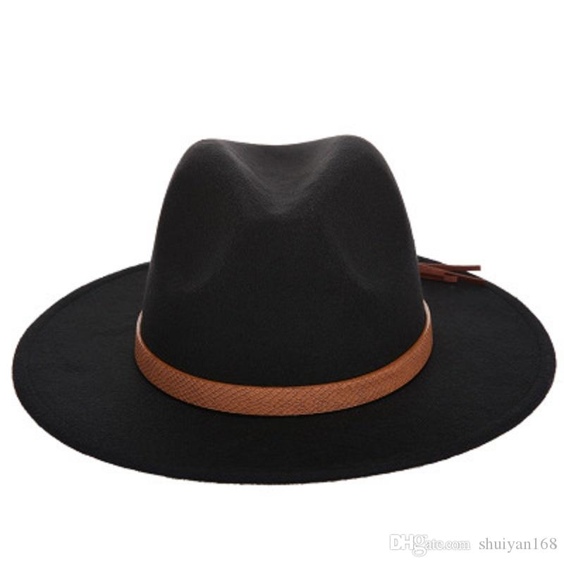 32ba332cb4e43 Wide Brim Hat Autumn Winter Sun Hat Women Men Fedora Hat Classical Wide  Brim Felt Floppy Cloche Cap Chapeau Imitation Wool Cap Wholesale Cowgirl  Hats ...