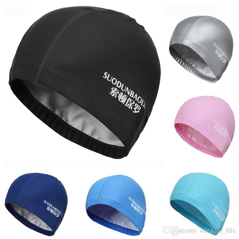 2019 Leo 2017 Elastic Waterproof PU Fabric Protect Ears Long Hair Sports  Swim Pool Hat Swimming Cap Free Size For Men   Women Adults From  Outdoor life 73be975598