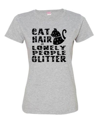 1dab2649cf Graphic T Shirts Cotton Crew Neck Cat Hair Is Lonely People Glitter Funny  Cat Lovers Deluxe Soft Short Sleeve Shirts For Women Printed T Shirt Funny T  ...