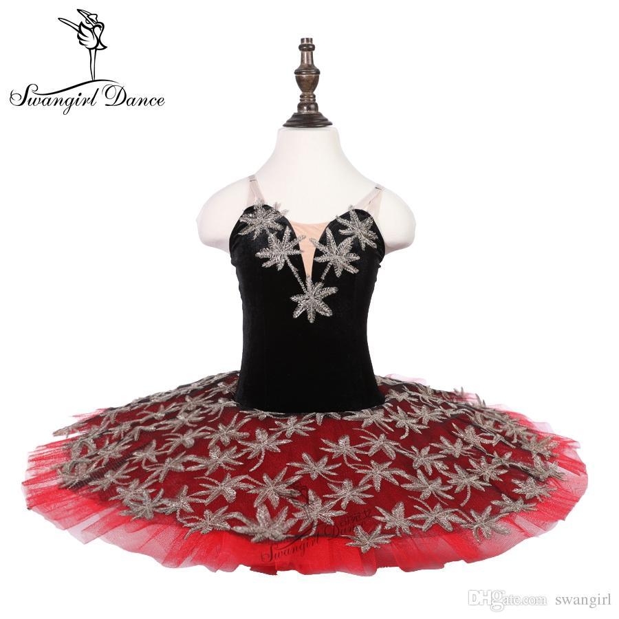 2c46229038 Compre Negro Rojo 7layer De Tul Practicante Bailarina Disfraz Tutu Falda  Niños Pre Profesional Ballet De Danza Tutu 18079C A  78.7 Del Swangirl