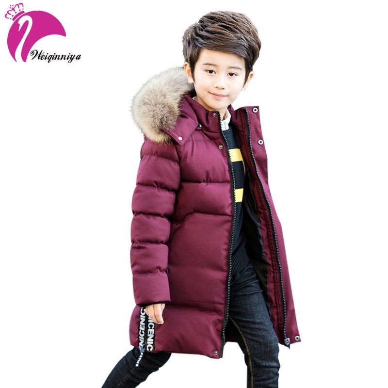 7c4d0f1bc weiqinniya Boys Down Parkas Jackets Winter 2018 Kid Down Letter Jacket For  Boy Children Windbreaker Fur Hooded Parka Jakcket Hot