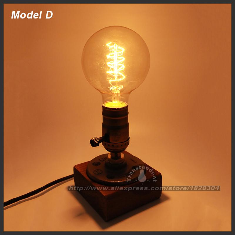 Retro Coffee Shop Table Lamp Wood Vintage Desk Lamp Dimmable 40W Edison Bulb 220V Bedroom Bar Table Light Desk Light Wooden