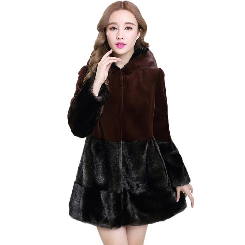 Manteau en fausse fourrure pour femme Nerazzurri avec capuche à manches longues et épaisse fausse fourrure chaude, bloc de couleurs plus la taille de fourrure artificielle 5xl 6xl 7xl