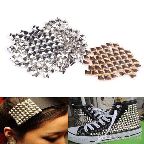 100 Unids / lote Moda DIY Studs Remaches Spike Square Stud Rivet Punk Rock Diseño Bolsa Cinturón Craft Apparel Coser Tela E5M1
