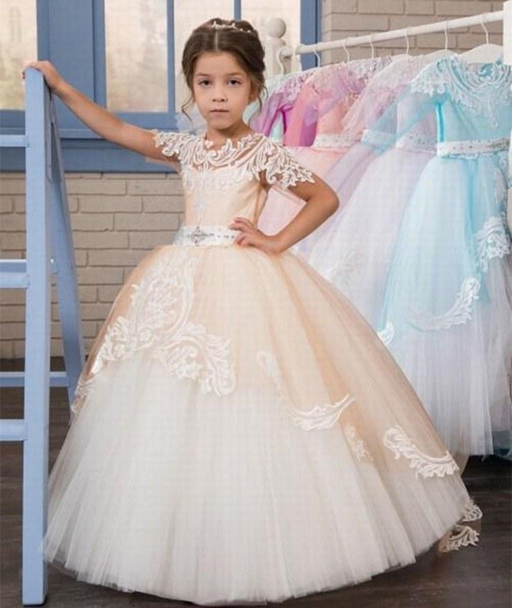 afe5dc11fa Elegant Kids Gown Short Sleeve Lace Flower Girl Dresses For Wedding Girl's  Princess Floor Length Child Party Birthday Dress ytz240