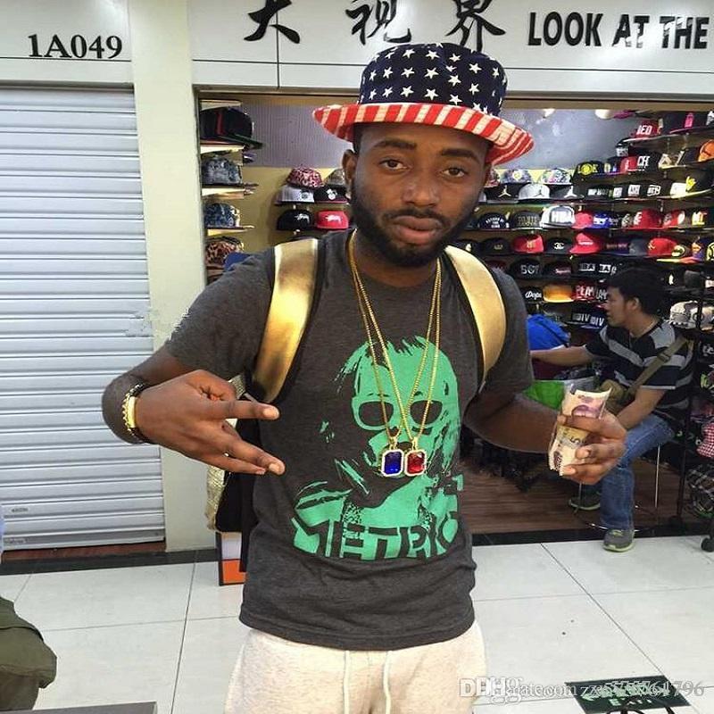 Erkekler için Hip Hop Gem Kolye Kolye Charm Moda Yeşil Kırmızı Mavi Siyah Beyaz Kristal Tasarım 18 k Altın Kaplama 75 cm Uzun Zincir Takı