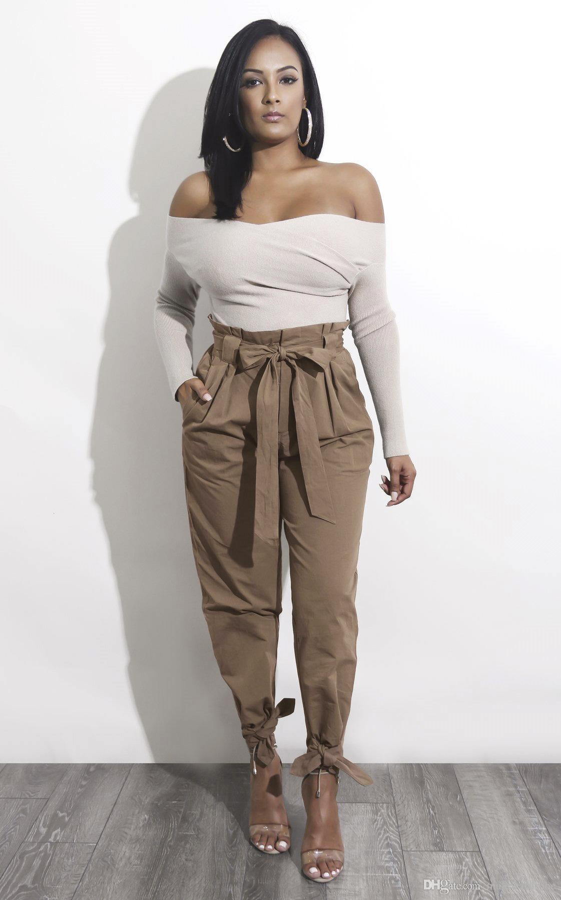 b8d1f2d61da6ef 2019 Women Casual High Waist Pants Solid Color Bandage Design Harem Pants  Fashion Trousers With Sashes From Malewardrobe, $55.42 | DHgate.Com