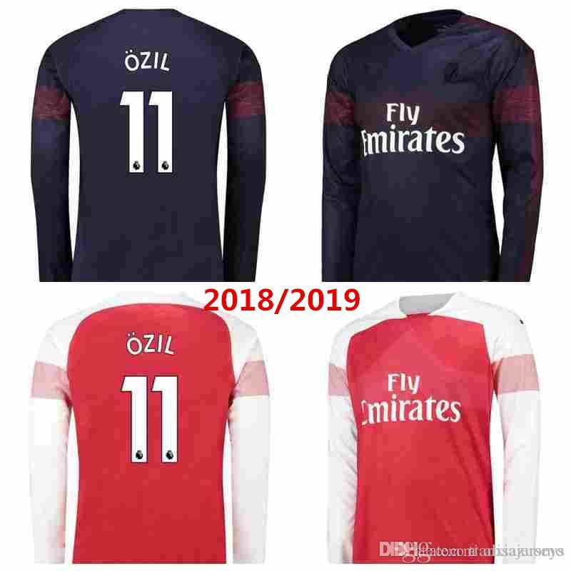 Camiseta De Fútbol Ozil Aubameyang De Manga Larga 2019 De Arsenal En Casa.  18 19 Lacazette Mkhitaryan Giroud Xhaka Ramsey Wilshere Camisetas De Fútbol  Por ... 173d5a897764c