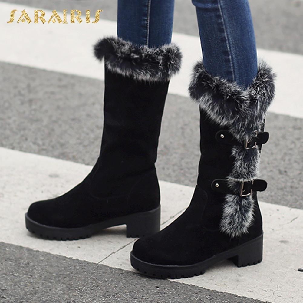 d43a490ea0578 SARAIRIS New plus Größe 32-43 Winter Schnee Stiefel Frauen Schuhe Frau  Stiefel warme Plüsch Mode Frau Schuhe