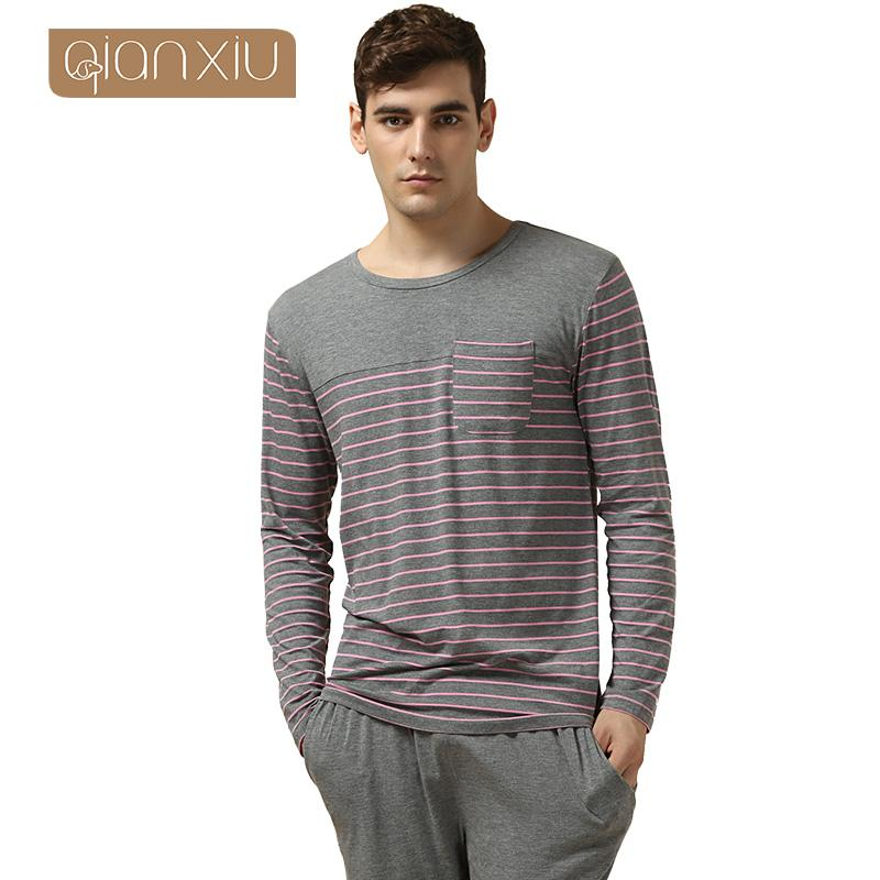 3792fbbde4c 2019 Qianxiu Pajamas Modal Cotton Women And Men Sleepwear Classic Stripe  Lounge Wear Long Sleeve Lovers Pajamas Set From Zhusa