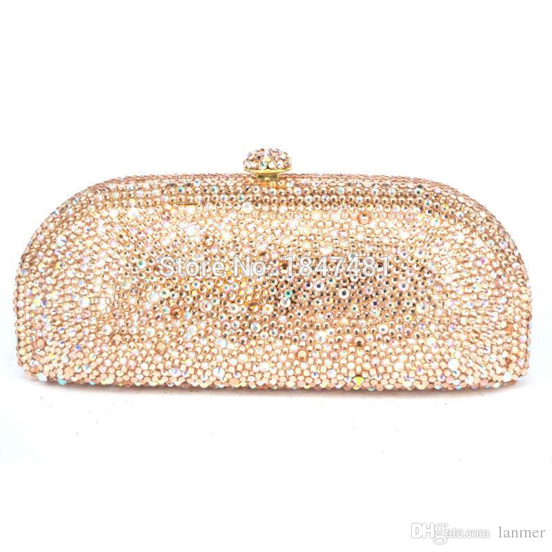 4fdd61bbac Wholesale- LaiSC Champagne Evening Clutch Bag Crystal Party Purse ...