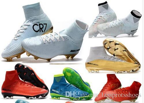 brand new 4c37c 867dd 2018 womens soccer cleats mercurial superfly CR7 Quinto Triunfo FG soccer  shoes boys men high top football boots kids neymar ronaldo