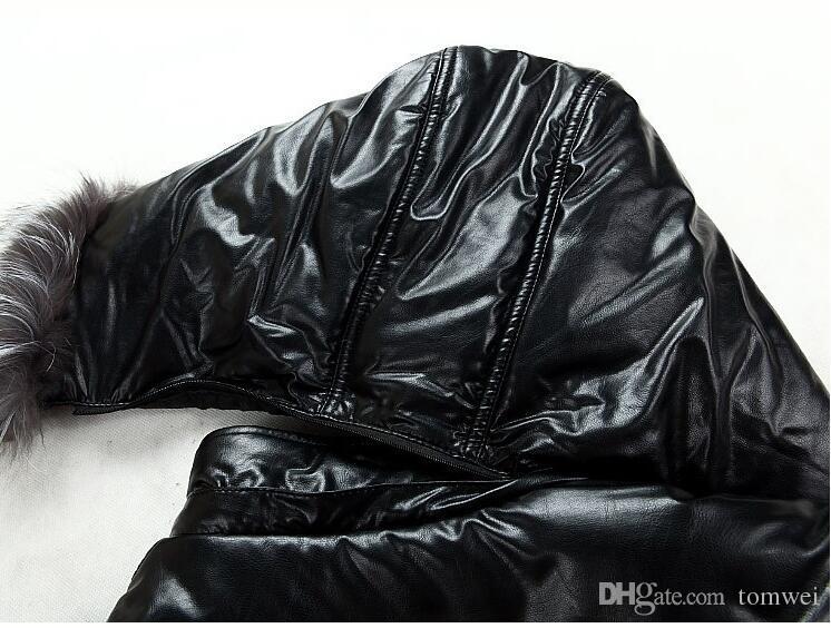 Mens Leather Down Cotton Jackets Winter Parkas Snow Coats Fur Hooded Thick Outwear Overcoat Super Warm Waterproof Windbreak 5xl