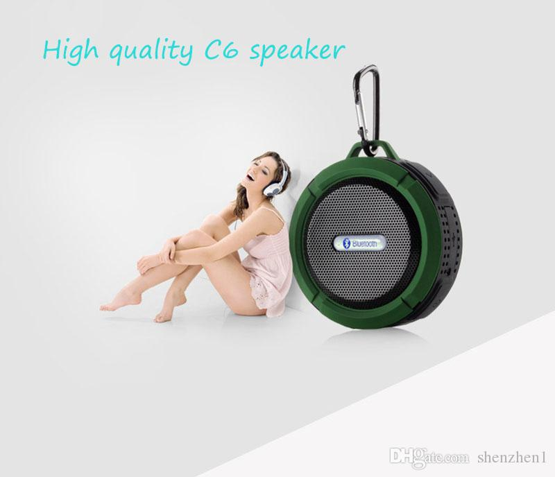 C6 Lautsprecher Bluetooth Lautsprecher Wireless Potable Audio Player Wasserdichte Lautsprecher Haken und Saugnapf Stereo Music Player Mit Paket MIS183