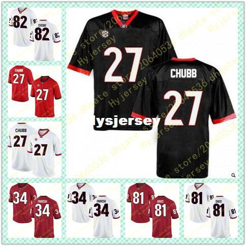reputable site c0924 22f2f Cheap Mens Nick Chubb Jersey Malkom Parrish Reggie Davis Michael Chigbu  Georgia Bulldogs Alumni Stitched Black Red White Football Jerseys