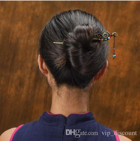 Moda natura pietre gioielli vintage capelli, bastoncini capelli etnici Aventurine, pinti capelli charms in Nepal