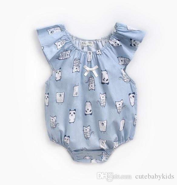 Girls' Baby Clothing Toddler Kids Baby Girls Clothes Round Neck Ruffle Cotton Casual Jumpsuit Sleeveless Dinosaur Print Newborn Bodysuit One Pieces