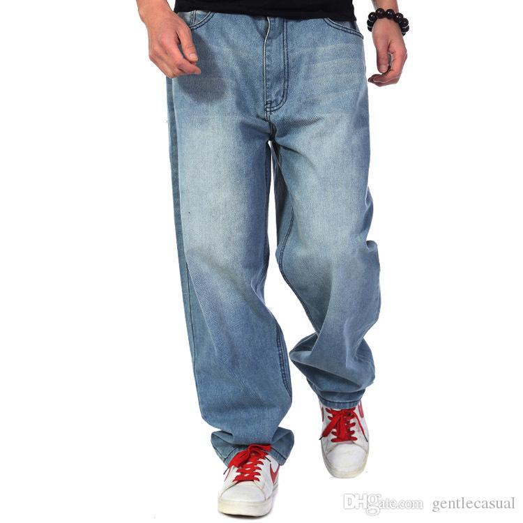 Compre Pantalones Vaqueros Holgados Azules De Los Hombres Con Bolsillos  Laterales Marca Hip Hop Pantalones Skateboard De La Marca Estilo Flojo Más  El Tamaño ... 2f3fe741b196