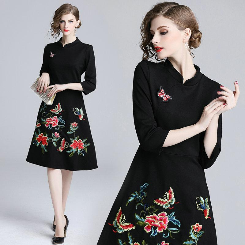 2019 Temperament Noble Dinner Dress Embroidery Womens Dress Autumn Winter Business  Office Dresses China Style High Quality Evening Dresses From Wrjmike f149a6da72dc