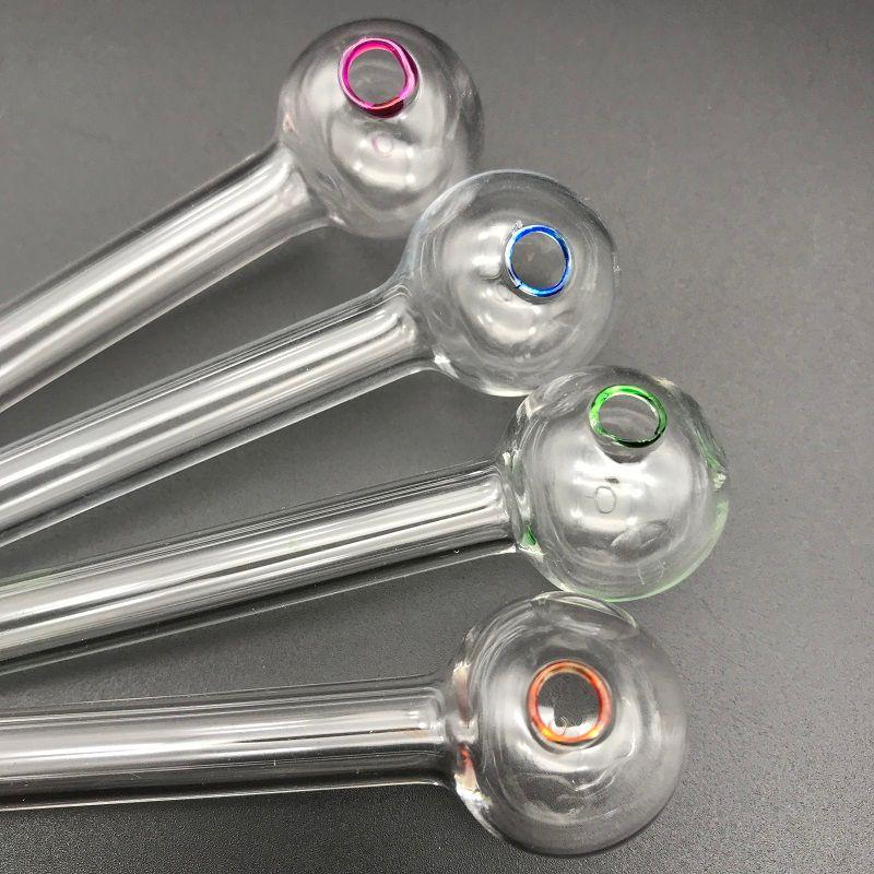 Pure handmade pirex tubo de queimador de óleo de vidro mini cachimbos de mão cachimbo de óleo de vidro grosso tubo colorido para óleo dab rigs de vidro bong