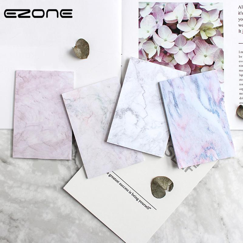 EZONE Marble Printed Sticky Note Self-Adhesive Square Rectangle Memo Pad N Time Sticker Note Bookmark Notepad Student Stationery