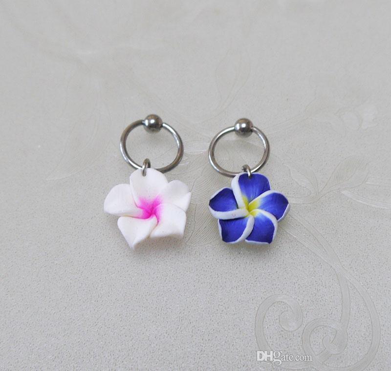 ee2b86c4d236c New 2Pcs 2 colors resin flowers CBR Captive Bead Ring , flowers hoop  cartilage Hoop Earring Tragus Helix Piercing ,earring jewelry