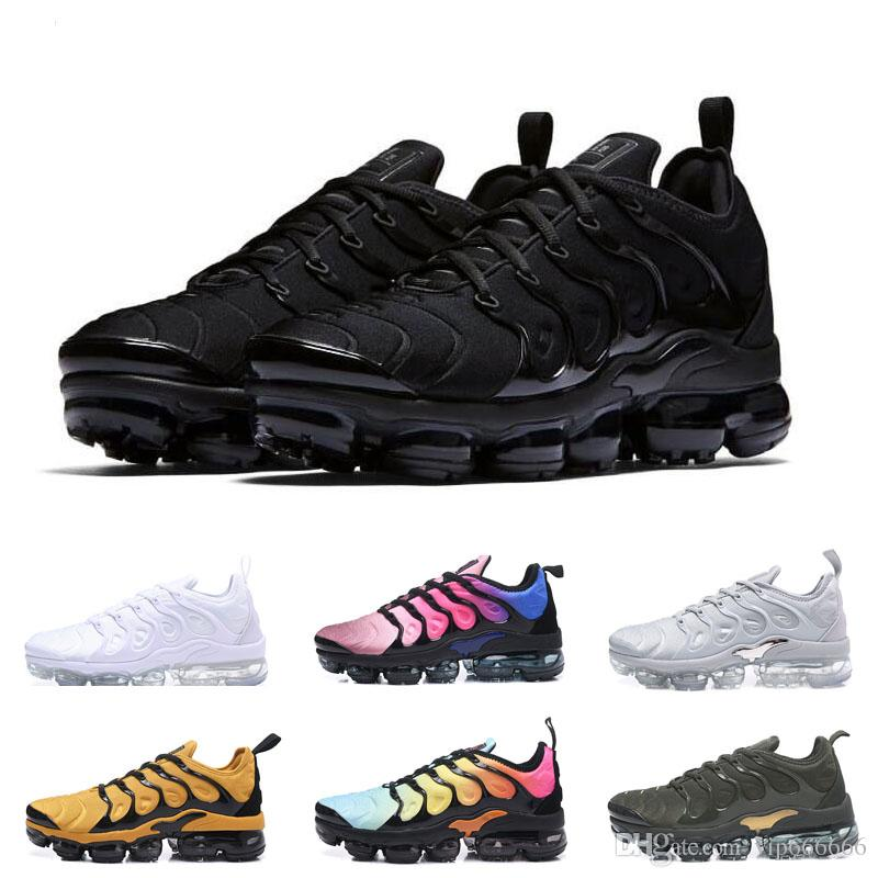 official photos c9f69 fcbe3 Acheter Nike Air Max Vapormax TN PLUS 2019 TN Plus Hommes Baskets Air  Cushion TN Femmes Blanc Noir Bleu Basket Chaussures De Course Requin  Chaussures ...