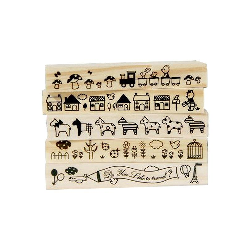 Wholesale Long Strip Cute Animal Wooden Rubber Stamp Kids DIY Handmade Scrapbook Diary Album Students Stamps Gifts Custom From