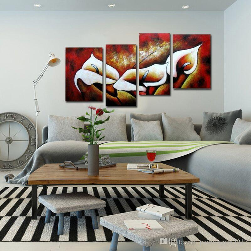 Abstract 100% Hand Painted Floral Flowers Bloom Modern Oil Painting Canvas By Numbers Wall Picture Home Decor Art 4Pcs/Lot