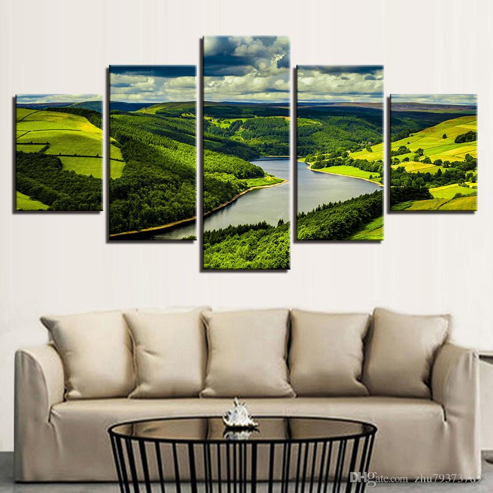 Canvas Mountain River Forest Scenery Painting For Living Room Decor ...