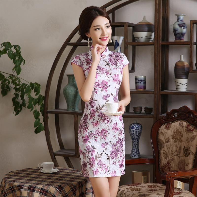 c0b3ad23a93c 2019 Short Style Improved Cheongsam Dress Purple Jacquard Print Daily Stand  Collar Low Split Short Sleeve Qipao Dresses From Linglon, $27.68 |  DHgate.Com
