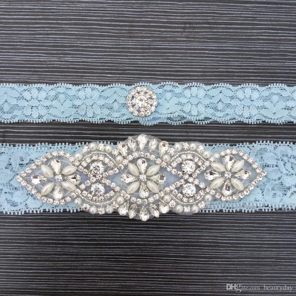 파란 신부의 Garters 크리스탈 진주 신부 레이스 웨딩 가터 벨트 무료 크기 15 ~ 23 인치 웨딩 레이스 가터 진짜 사진