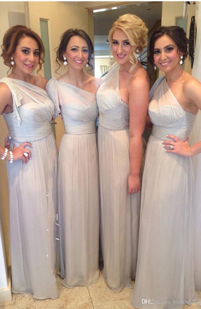 2018 Modern One Shoulder Chiffon Bridesmaid Dress A-Line Ruffle Silver Wedding Guest Dress Floor Length Zipper Back Maid of Honor Dresses
