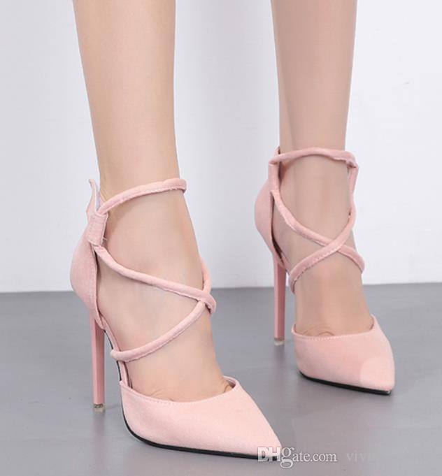Zapatos Y Compre De Rosa Con Sexy Color Boda Tiras Cruzadas CtQdoshrxB