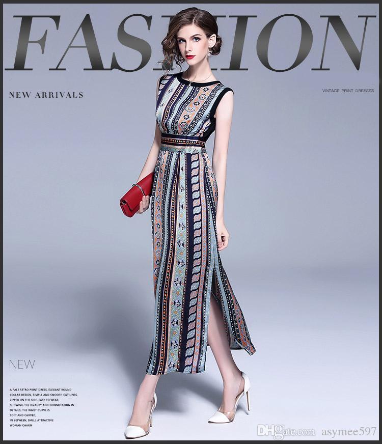 f9479d62a8 Compre Moda Nueva Bohemia De Impresión Vintage Vestidos De Mujer ...
