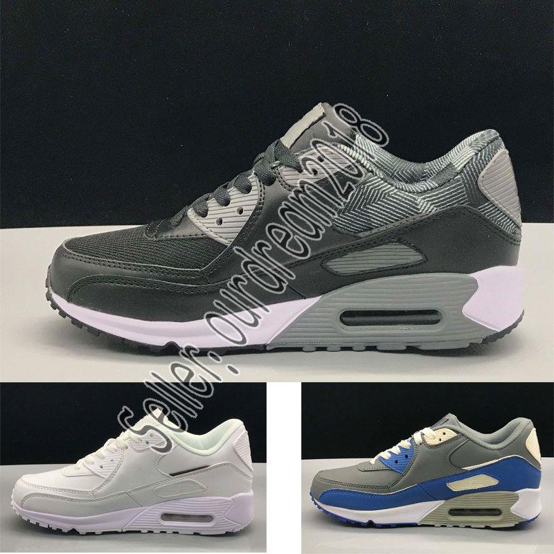 Nike Air Max Airmax Herren Turnschuhe Schuhe klassisch 90 Männer und Frauen Freizeitschuhe Schwarz Rot Weiß Atmungsaktive Sportschuhe 40 46