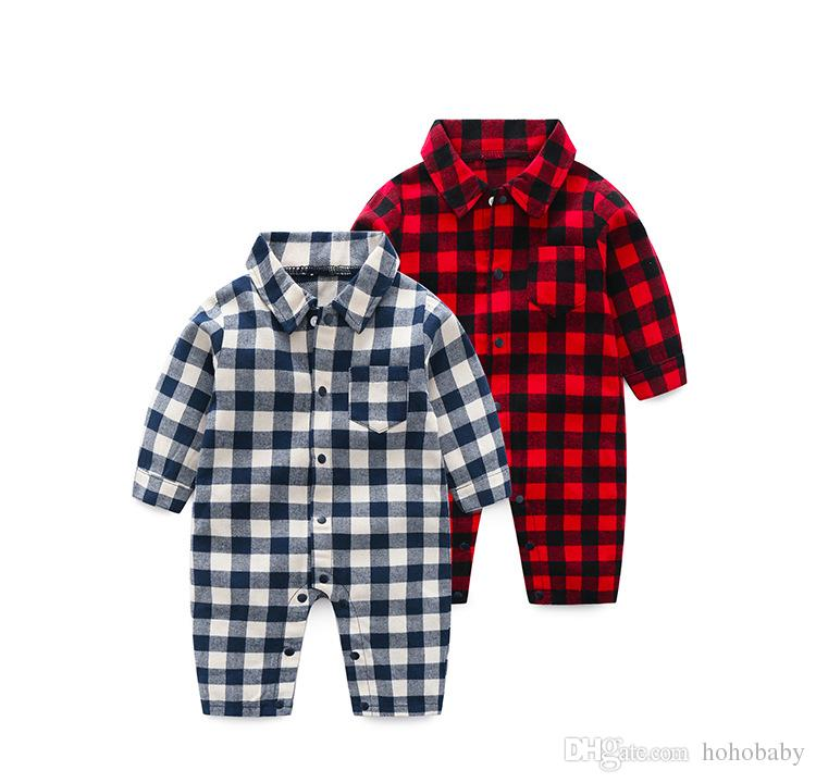 Baby Romper Newborn Baby Boys Romper Girls Playsuits Cotton Long Sleeve Plaid Baby Clothes Infant Pajamas Underwear 0-24M
