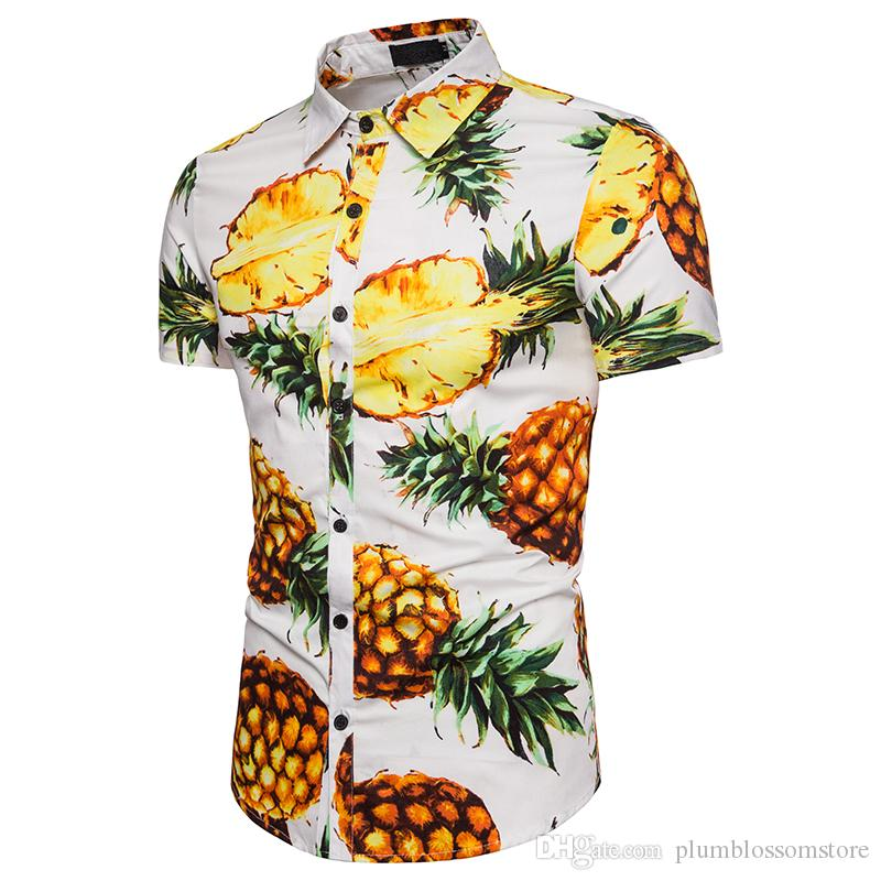 a715858ca3e 2019 Men Summer Casual Shirts Beach Hawaiian Short Sleeve Tropical Fruit  Pineapple Floral Printed T Shirt Holiday Shirts Tops Plus Size M XXXL From  ...