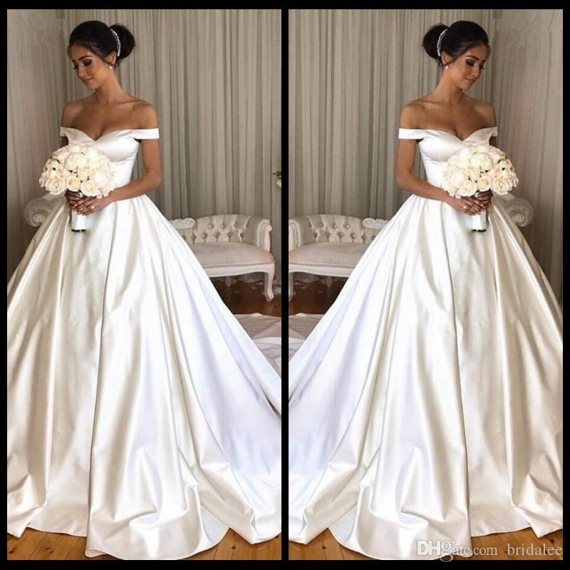 Jieruize White Simple Backless Wedding Dresses 2019 Ball: Simple Ivory Ball Gown Wedding Dresses 2019 Off The