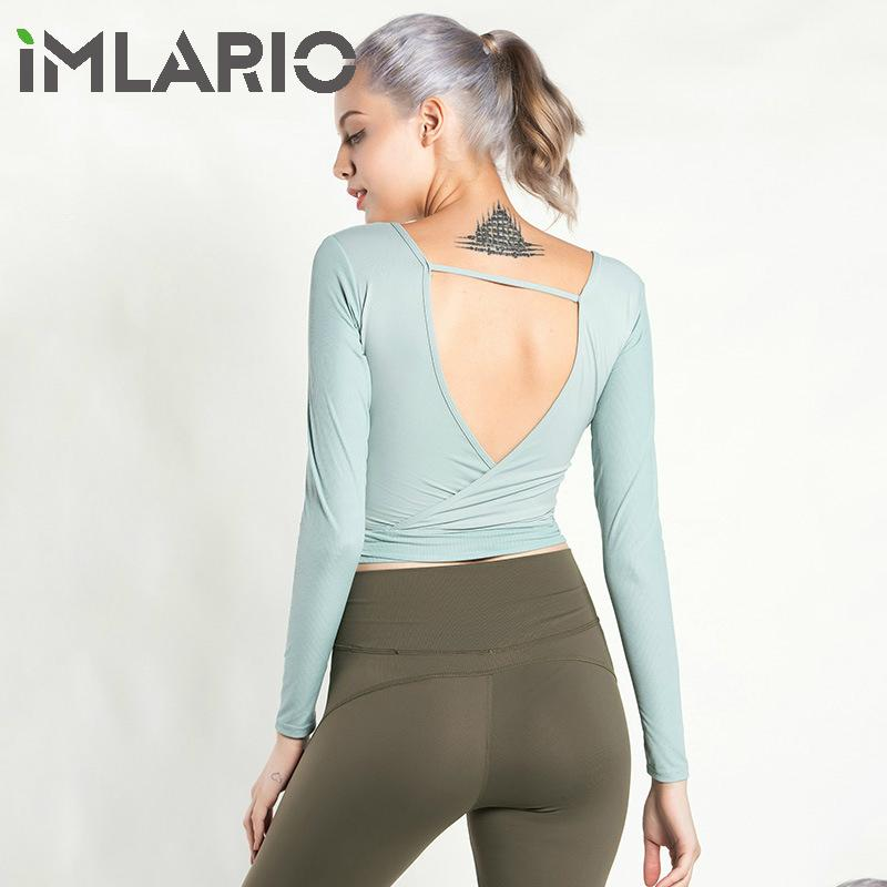 204d98d2f099c 2019 Imlario Side Hollow Fitness Shirt Solid Color Ballet Long Sleeve  Backless Gym Yoga Crop Tops Women Gym Sportwear Workout Clothes From  Kuaigoubian