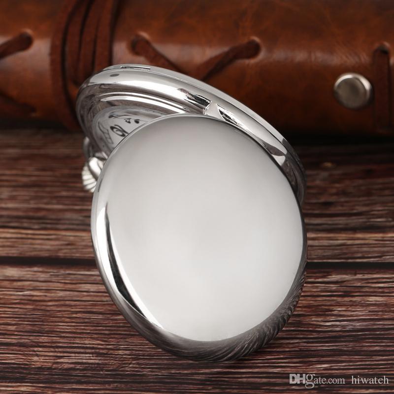 Espelho liso Bolso Pingente De Prata Relógio FOB Moderna Número Árabe Relógio Analógico Homens e Mulheres Moda Colar Unisex Presente