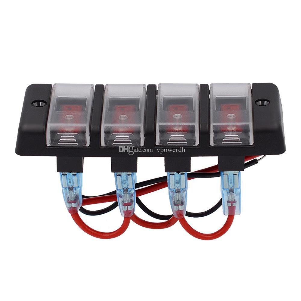 4 Gang LED Painel Interruptor do Disjuntor Fusíveis Disjuntor para 12 V Carro Rv Marine Boat B00645