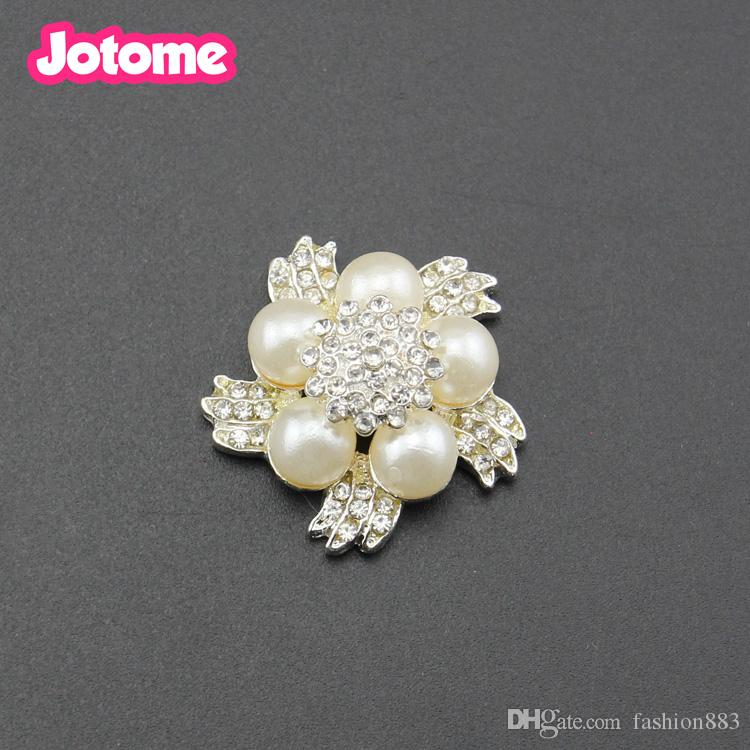 Jotome jewelry High quality Bride Bouquet Clothing decoration Plum blossom flower Pearl & Rhinestone Button for wedding ornament