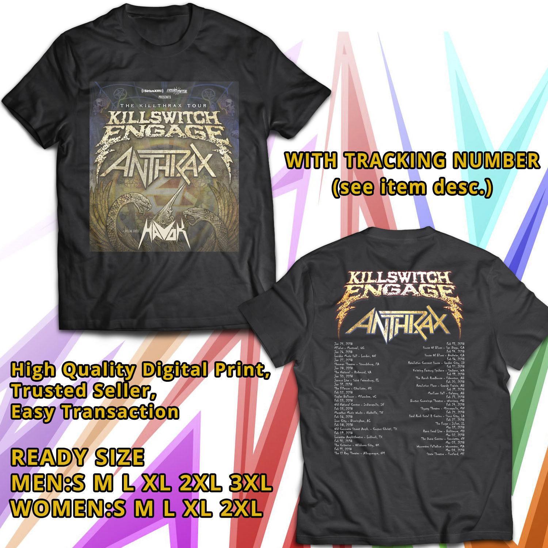 NEW KILLSWITCH ENGAGE THE KILLTHRAX II TOUR 2018 BLACK TEE Men's T-Shirt  New Fashion Casual Cotton Short-Sleeve Funny
