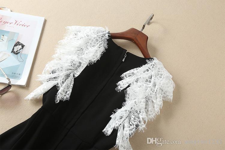 Marca de fábrica 2018 Vestidos del mismo estilo Perlas Bordado de encaje Estampado de flora Cuello redondo Una línea Vestidos de moda de manga corta COMO