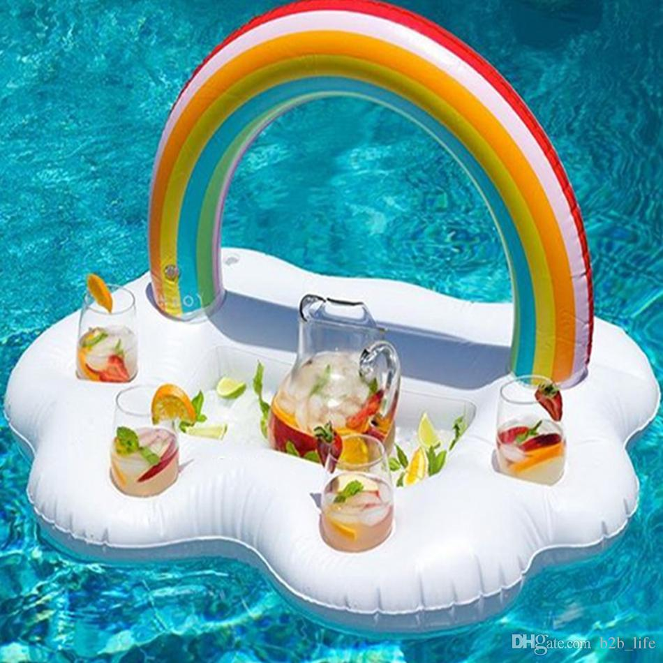 Arcobaleno Cup Holder Ice secchiello con 4 Hold materasso gonfiabile Tavolo Bar vassoio Pool Party Beer Drink Food Float Party Toy OOA4916