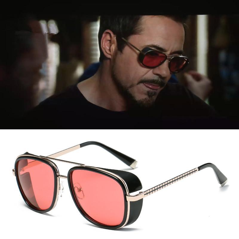 6797b84807 Tony Stark Iron Man Sunglasses Men Luxury Brand Eyewear Mirror Punk Sun  Glasses Vintage Male Sunglasses Steampunk UV400 Sunglasses At Night  Sunglasses ...