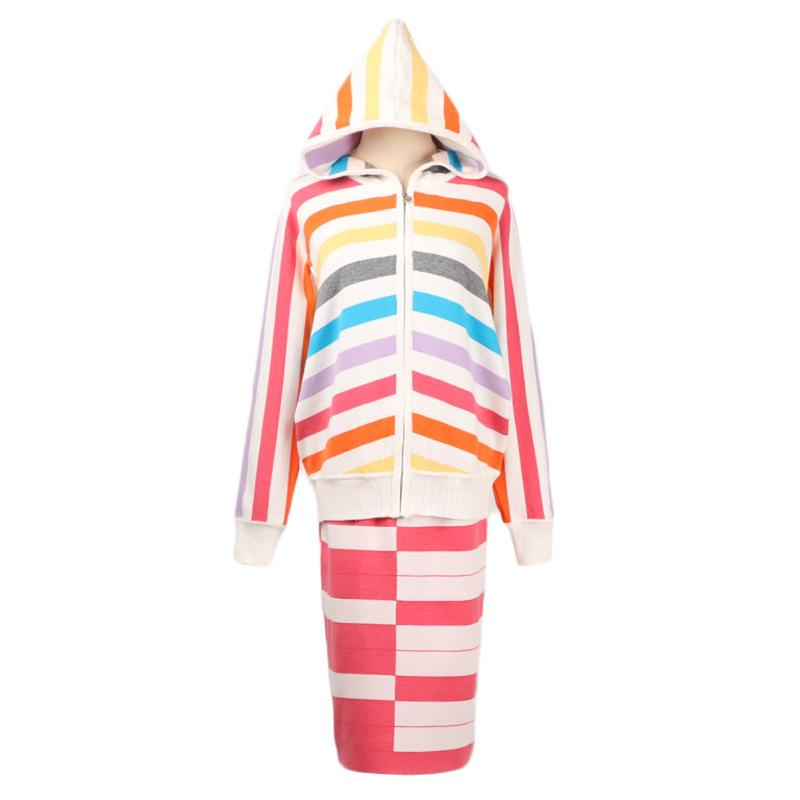 e5c91b25185 2018 2018 Autumn And Winter New Women S European And American Rainbow Print  Striped Hooded Long Sleeved Knit Cardigan + Half Skirt Two Piece From  Cloth189