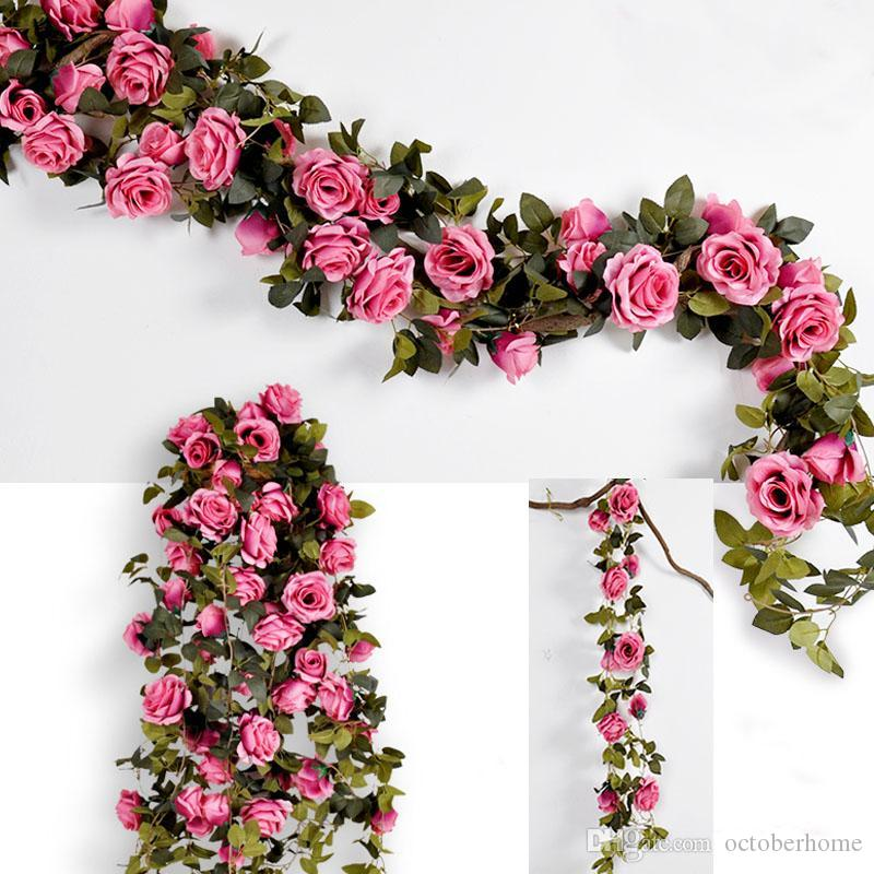 5 Rose Pêche Artificielle Orchidée Fleur Tiges Réaliste Fausse Soie Vert branches