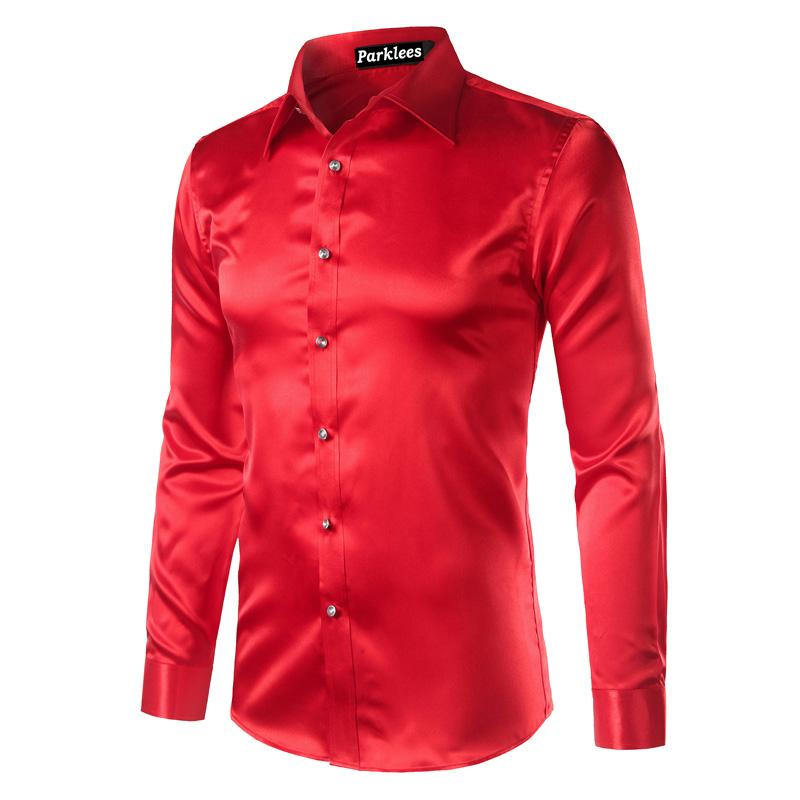 e0b78e402c383 2019 Silk Shirt Men Satin Smooth Men Solid Tuxedo Shirt Business Chemise  Homme Casual Slim Fit Shiny Gold Wedding Dress Shirts From Taigao